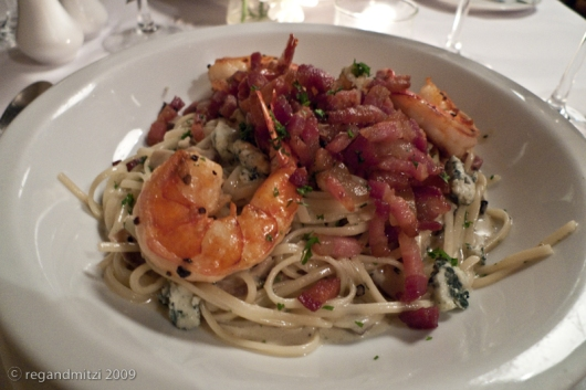 blue cheese linguini carbonara with roasted smoked bacon