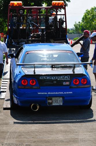 blue car down ramp